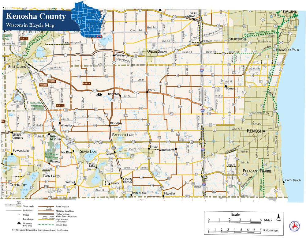 Kenosha County Bike Trails Map